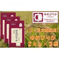 【10ヶ月定期配送】ホクレンゆめぴりか(無洗米2kg×3)※チャック付袋