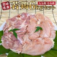 <宮崎県産若鶏>モモ・ムネ6kgセット【B381】