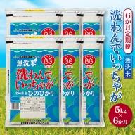 「6ヵ月お届け」「洗わんでいっちゃが」宮崎県産無洗米ヒノヒカリ 5kg×6回定期便【E86】
