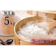 【無洗米】北海道産う米蔵5kg【3ヶ月定期発送】