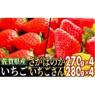 佐賀県産いちご詰合せ 「さがほのか」270g×4P 「いちごさん」 280g×4P C-346