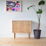 家具職人が作った かわいい おしゃれな 木製 3段チェスト(茶)