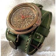 HR24の大型サイズ手作り時計 H(男性用)オリ−ブ