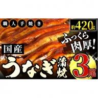 うなぎ蒲焼専門店「柳屋」国産うなぎ蒲焼 (約140g×3尾) C-357