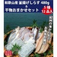 ZB6085_和歌山産 釜揚げしらす 480g&干物詰め合わせセット 5種12品入り【無添加・無着色】