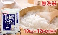 無洗米 北海道赤平産ゆめぴりか特別栽培米10kg×12回お届け