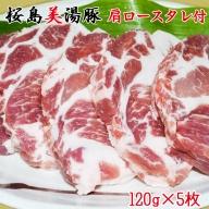 A1-3042/桜島美湯豚 肩ロースタレ付 120g×5枚