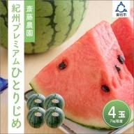 齋藤農園ブランド「ひとりじめプレミアムV」(小玉スイカ ひとりじめ) 4玉7kg程度
