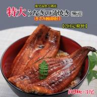 D4-0817/【2回定期】鹿児島県産特大うなぎの蒲焼き(無頭)200g×3尾