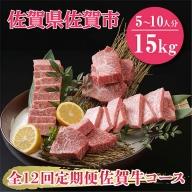 X−022.【全12回定期便】佐賀牛15kgコース(5~10人分)