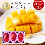 完熟マンゴー『レッドクイーン』 3玉×2L (1000g以上)