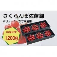 A-141 さくらんぼ(可愛いパック詰め)たっぷり!1,200g (200gダイヤ詰×6パック)