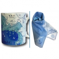 逗子 海図マグカップ・海図ミニスカーフセット