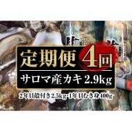 オホーツクサロマ産カキ殻付き2年貝2.5kg・1年貝むき身400gセット 4回定期便