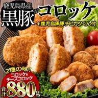 a0-116 【鹿児島県産】肉屋がかごしま黒豚を贅沢に使ったコロッケ・カツ(合計880g)
