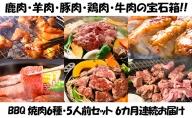 【6カ月連続】エンジョイ!BBQセット ~焼肉6種 5人前コース~