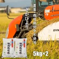 もっちり艶々「農薬:栽培期間中不使用」さがびより(5kg×2袋)しもむら農園