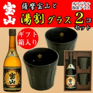 No.496 薩摩宝山黒麹(720ml)と宝山陶器グラスセット!芋の葉をあしらった化粧箱入りで贈答用にも!【西酒造】