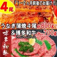 B178.うなぎの蒲焼4尾&博多和牛700g【スタミナ満点!元気セット】
