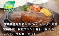 K16_0041<宮崎県産黒毛和牛100%ハンバーグ10P宮崎県産「自社ブランド豚」山豚100%ハンバーグ5P セット>