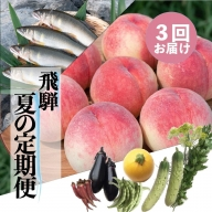 夏の飛騨 美味しい旬を堪能する 3回 定期便 桃・野菜セット・鮎 飛騨の夏の味覚をお届け[Q126]