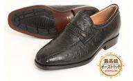オーストリッチ革 ビジネスシューズ 革靴 本革 紳士靴 スワローモカ 4E ワイド No.1267 ブラック