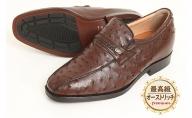 オーストリッチ革 ビジネスシューズ 革靴 本革 紳士靴 スワローモカ 4E ワイド No.1267 ブラウン