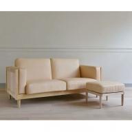 【0200001】Wood Frame Sofa Classic M〈ナチュラル革〉+Ottoman Classic