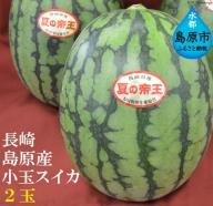 AE024<期間限定>長崎島原産小玉スイカ「夏の帝王」 2玉