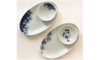 A30-150 巾広小判焼皿2枚とボウルセット2個 ギャラリーフジヤマ