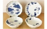 A30-151 八方割5寸皿2枚と小鉢セット2枚【絵柄はおまかせ】 ギャラリーフジヤマ