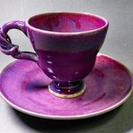 【ろくろ体験付き】コーヒーカップ&ソーサー 剛紫 (宇陀焼)/焼き物 瀬戸物 手作り 一点物 室生 奈良