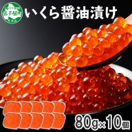 146. いくら醤油漬け 80g×10個 北海道 いくら イクラ 魚卵 魚介 海鮮