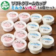 499.北海道 ソフトクリーム カップ アイス 食べ比べ 14個 ミルク みるく イチゴ いちご セット 手作り 北国からの贈り物