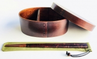 【漆器たかやすみ】木製漆塗り わっぱ弁当箱 大 (約800ml)・桜皮箸(大)・箸袋セット (緑)