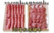 A5等級飛騨牛すき焼き&焼き肉用セット(各1kg)計2kg ロース又は肩ロース肉