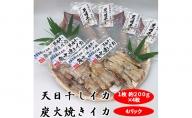 青森県鰺ヶ沢町 生干しイカ 4枚、炭火焼きイカ 4パックセット ※ご入金確認後 3ヶ月以内の発送になります。  青森 イカ いか 国産 魚介