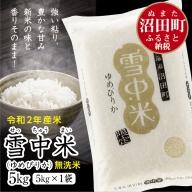 北海道 ゆめぴりか 5kg 無洗米 令和2年産 雪中米