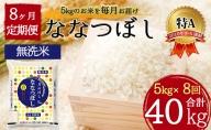 令和2年産 北海道月形町ななつぼし「無洗米」40kg(5kg×8ヶ月毎月発送)特Aランク10年連続獲得