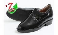 ビジネスシューズ 本革 革靴 カンガルー革 紳士靴 モカスリッポン 7cmアップ シークレットシューズ No.234 ブラック