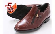 カンガルー革 ビジネスシューズ 紳士靴 Uモカ スリッポン 5cmアップ 4E ワイド No.635 ブラウン