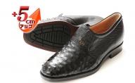 オーストリッチ革 ビジネスシューズ 紳士靴 スリッポン 5cmアップ 4E ワイド No.65 ブラック