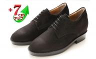 ビジネスシューズ 本革 革靴 牛革ヌバック 紳士靴 カジュアル 7cmアップ シークレットシューズ No.237 ブラック