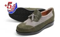 カジュアルシューズ 本革 革靴 紳士靴 5.5cmアップ 牛革ベロア タッセルスリッポン シークレットシューズ No.959 カーキ×グレー