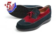 カジュアルシューズ 本革 革靴 紳士靴 5.5cmアップ 牛革ベロア タッセルスリッポン シークレットシューズ No.959 ネイビー×レッド
