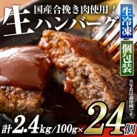 No.545 <生冷凍>お肉屋さんが作った!国産合挽きハンバーグ(24個)牛肉・豚肉ともに国産原料!嬉しい個包装!食べたい時に焼きたてを存分にお楽しみください【カミチク】