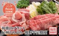 AB61-T01_【定期便 4回】和歌山ブラント 紀州うめぶた・熊野牛定期便(毎月お届け)