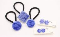 A15-100 cocosara BLUE 和柄セット ヘアゴム・ノンホールピアス