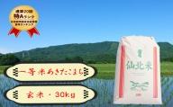 【農家直送】秋田県 仙北市産米 令和2年産 あきたこまち(玄米 30kg)