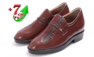 ビジネスシューズ 本革 革靴 カンガルー革 紳士靴 デザインモカ 7cmアップ シークレットシューズ No.235 ブラウン